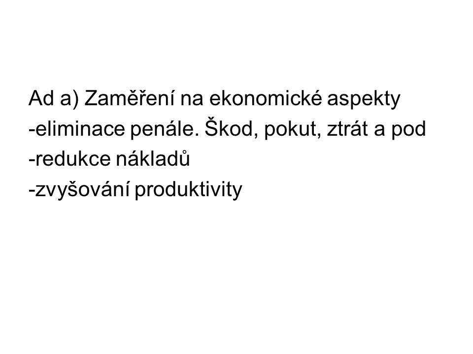 Ad a) Zaměření na ekonomické aspekty -eliminace penále.