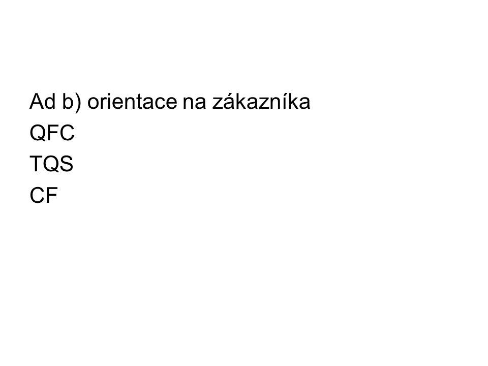 Ad b) orientace na zákazníka QFC TQS CF