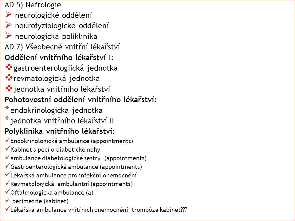 AD 5) Nefrologie  neurologické oddělení  neurofyziologické oddělení  neurologická poliklinika AD 7) Všeobecné vnitřní lékařství Oddělení vnitřního