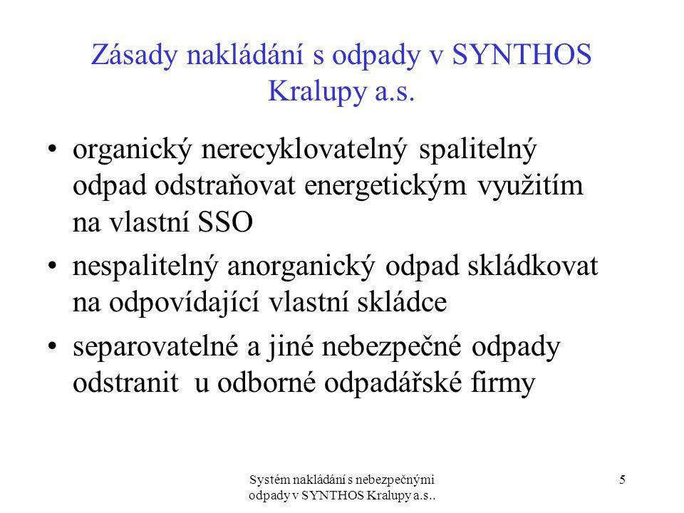 Systém nakládání s nebezpečnými odpady v SYNTHOS Kralupy a.s..