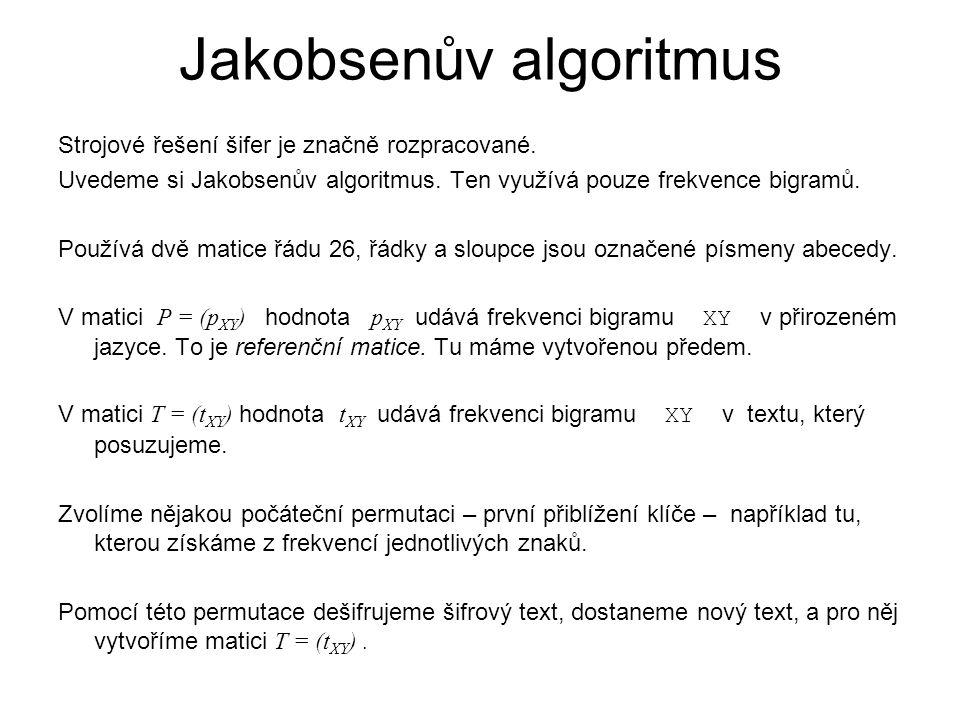 Jakobsenův algoritmus Strojové řešení šifer je značně rozpracované. Uvedeme si Jakobsenův algoritmus. Ten využívá pouze frekvence bigramů. Používá dvě