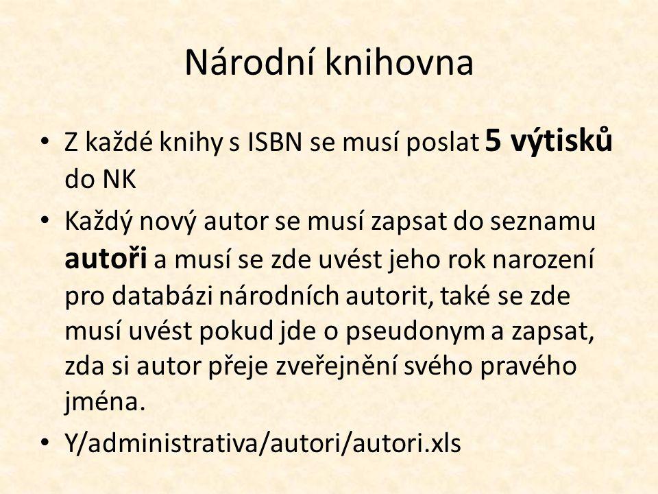 Národní knihovna Z každé knihy s ISBN se musí poslat 5 výtisků do NK Každý nový autor se musí zapsat do seznamu autoři a musí se zde uvést jeho rok na