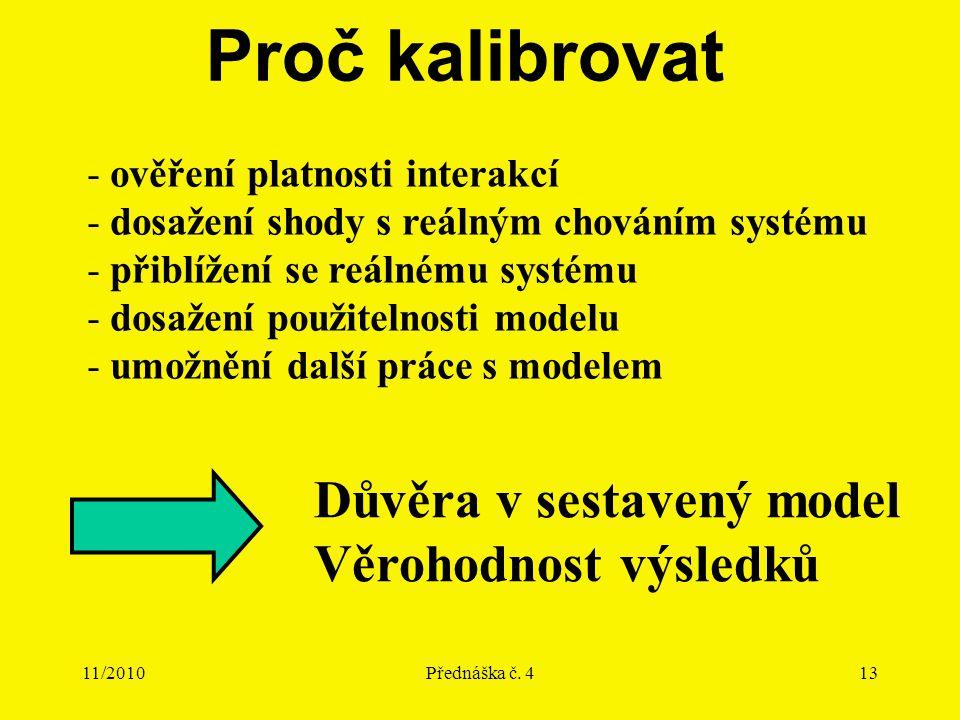 11/2010Přednáška č. 413 Proč kalibrovat - ověření platnosti interakcí - dosažení shody s reálným chováním systému - přiblížení se reálnému systému - d