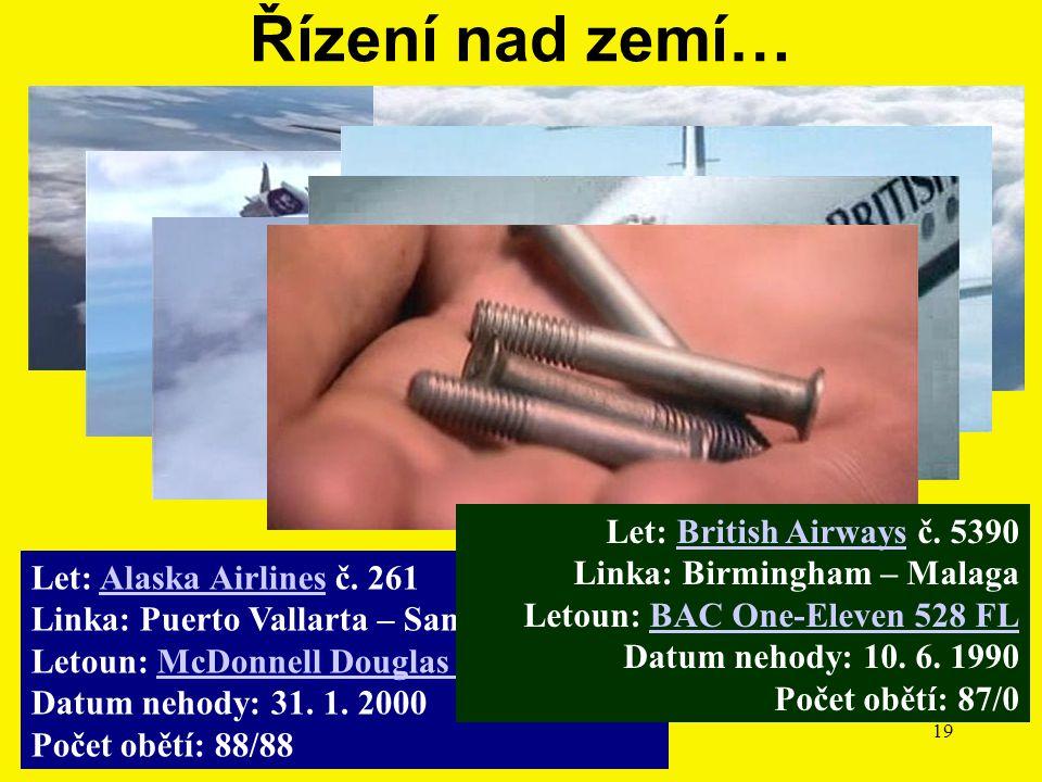 11/2010Přednáška č. 419 Let: Alaska Airlines č. 261 Linka: Puerto Vallarta – San Francisko Letoun: McDonnell Douglas MD-83 Datum nehody: 31. 1. 2000 P