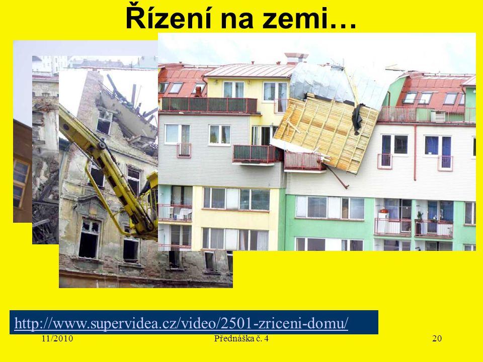 11/2010Přednáška č. 420 Řízení na zemi… http://www.supervidea.cz/video/2501-zriceni-domu/