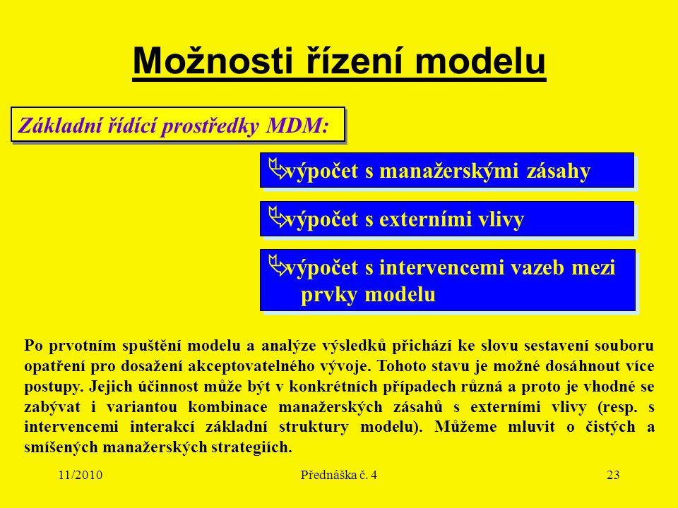 11/2010Přednáška č. 423 Možnosti řízení modelu Základní řídící prostředky MDM:  výpočet s manažerskými zásahy  výpočet s externími vlivy  výpočet s