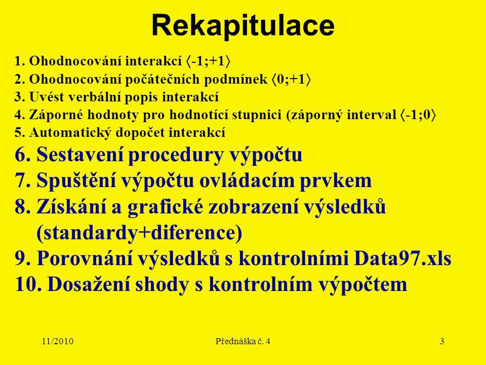 11/2010Přednáška č. 43 Rekapitulace 1. Ohodnocování interakcí  -1;+1  2. Ohodnocování počátečních podmínek  0;+1  3. Uvést verbální popis interakc