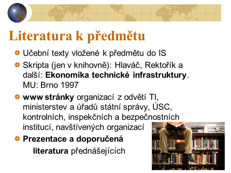 10 Literatura k předmětu Učební texty vložené k předmětu do IS Skripta (jen v knihovně): Hlaváč, Rektořík a další: Ekonomika technické infrastruktury.