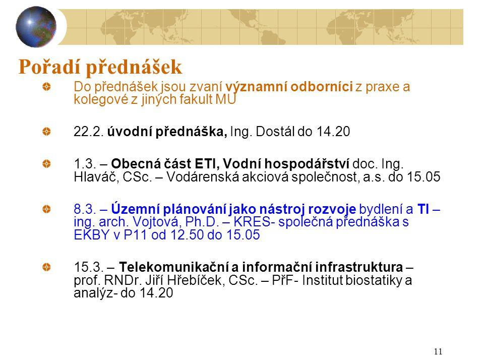 11 Pořadí přednášek Do přednášek jsou zvaní významní odborníci z praxe a kolegové z jiných fakult MU 22.2. úvodní přednáška, Ing. Dostál do 14.20 1.3.