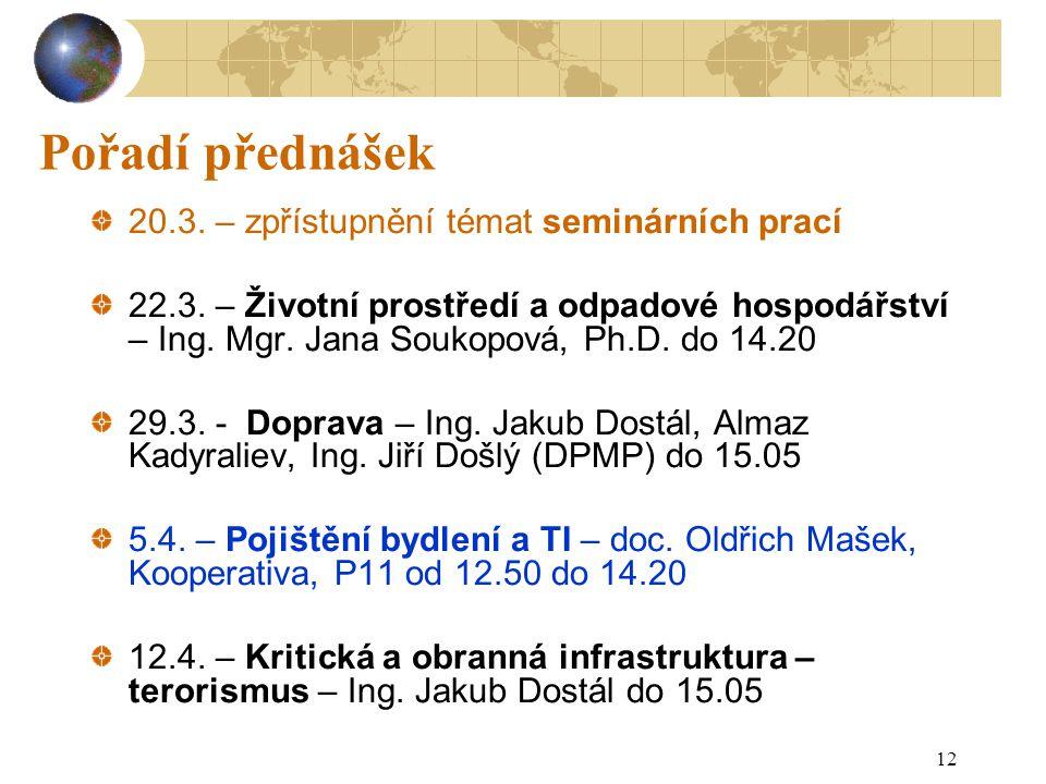 12 Pořadí přednášek 20.3.– zpřístupnění témat seminárních prací 22.3.