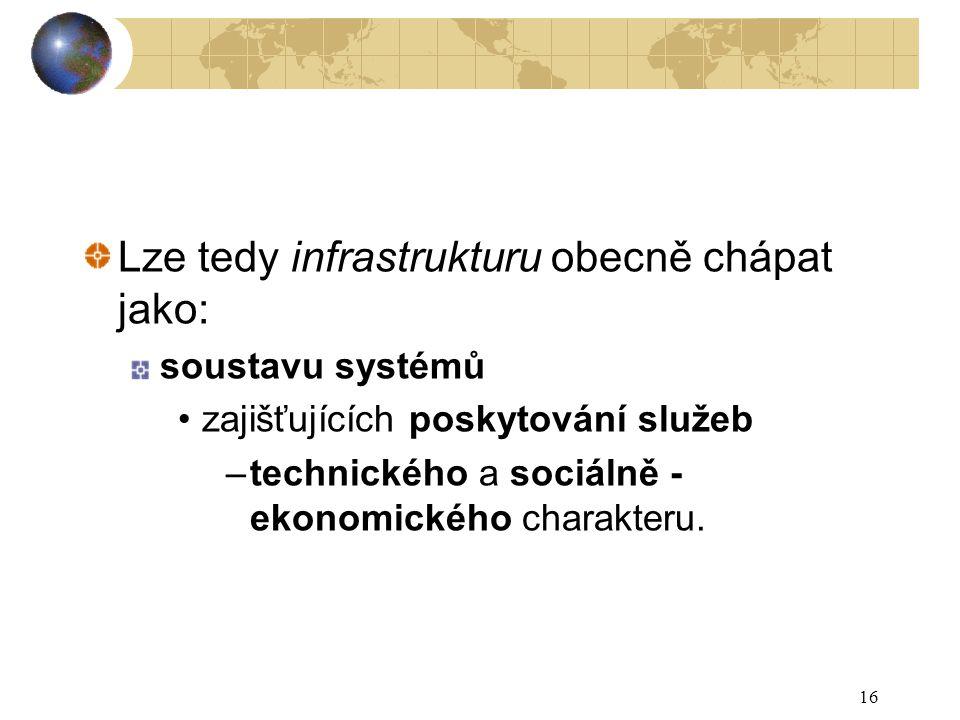 16 Lze tedy infrastrukturu obecně chápat jako: soustavu systémů zajišťujících poskytování služeb –technického a sociálně - ekonomického charakteru.
