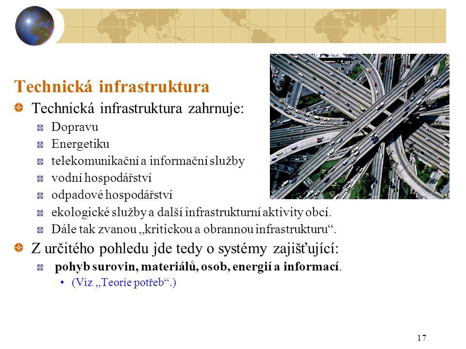 17 Technická infrastruktura Technická infrastruktura zahrnuje: Dopravu Energetiku telekomunikační a informační služby vodní hospodářství odpadové hospodářství ekologické služby a další infrastrukturní aktivity obcí.