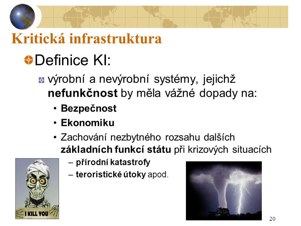 20 Kritická infrastruktura Definice KI: výrobní a nevýrobní systémy, jejichž nefunkčnost by měla vážné dopady na: Bezpečnost Ekonomiku Zachování nezbytného rozsahu dalších základních funkcí státu při krizových situacích –přírodní katastrofy –teroristické útoky apod.