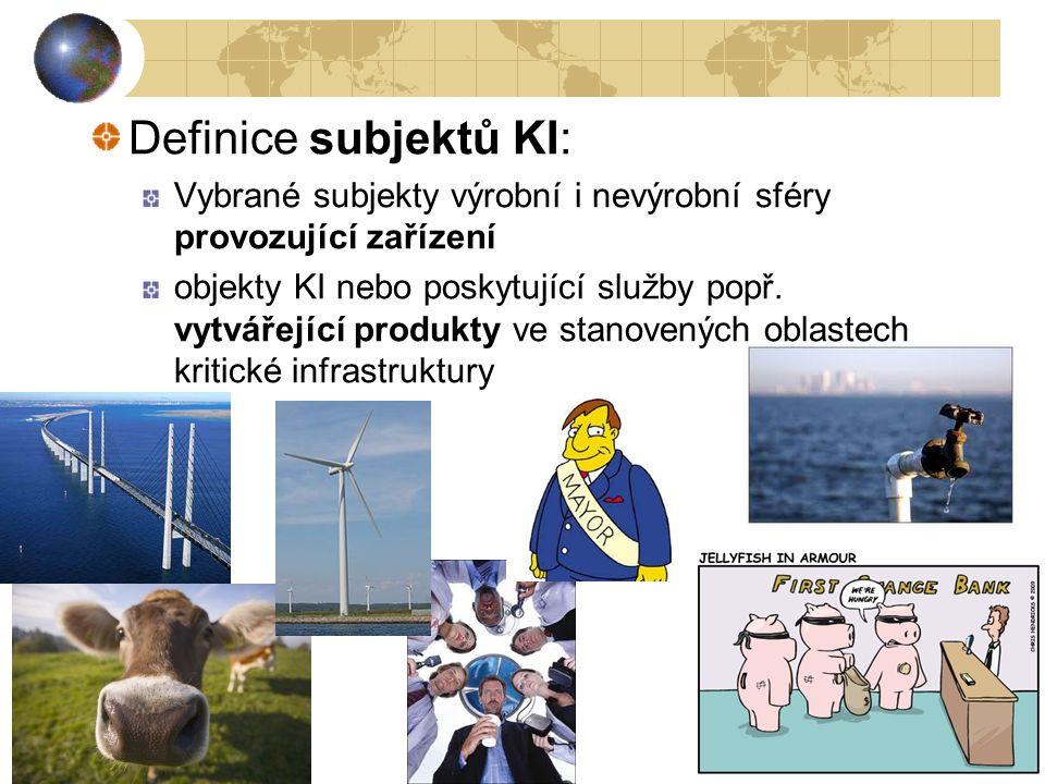 21 Definice subjektů KI: Vybrané subjekty výrobní i nevýrobní sféry provozující zařízení objekty KI nebo poskytující služby popř. vytvářející produkty