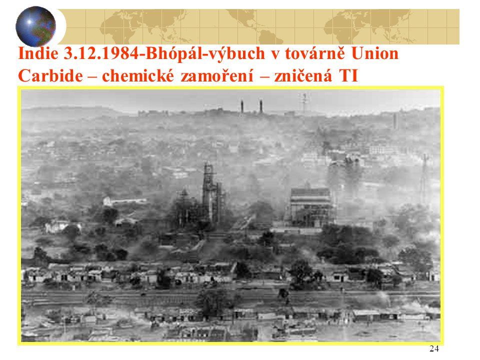 24 Indie 3.12.1984-Bhópál-výbuch v továrně Union Carbide – chemické zamoření – zničená TI