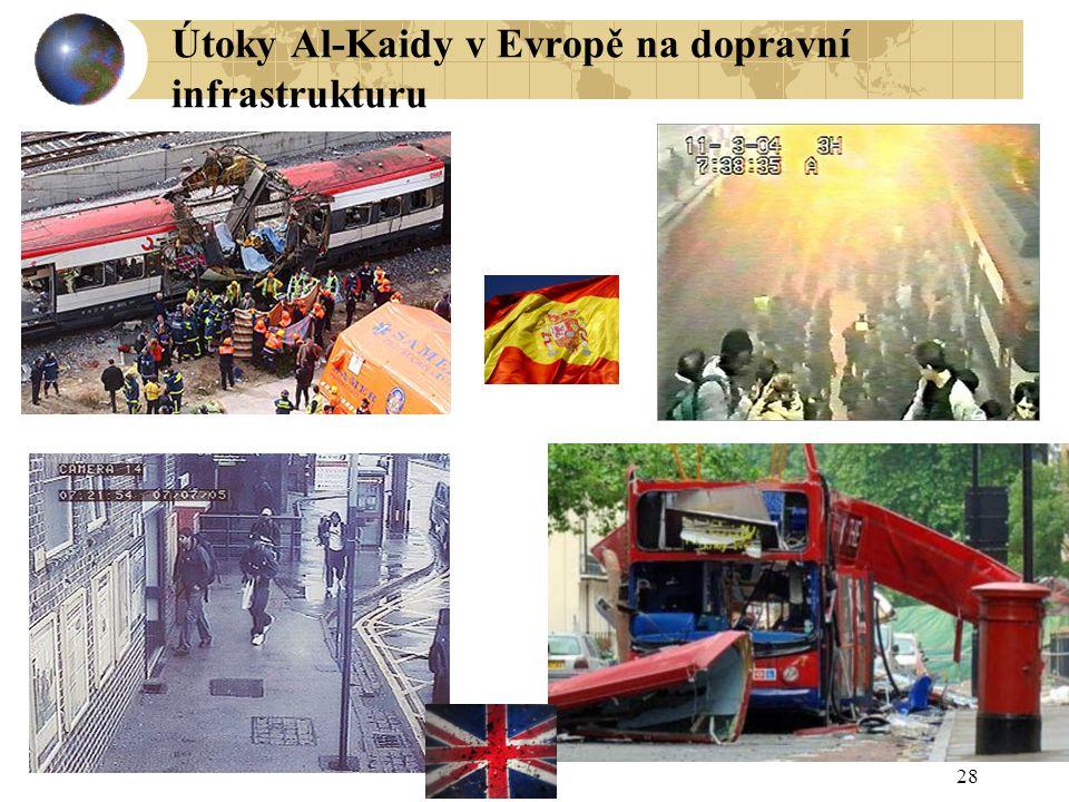 28 Útoky Al-Kaidy v Evropě na dopravní infrastrukturu