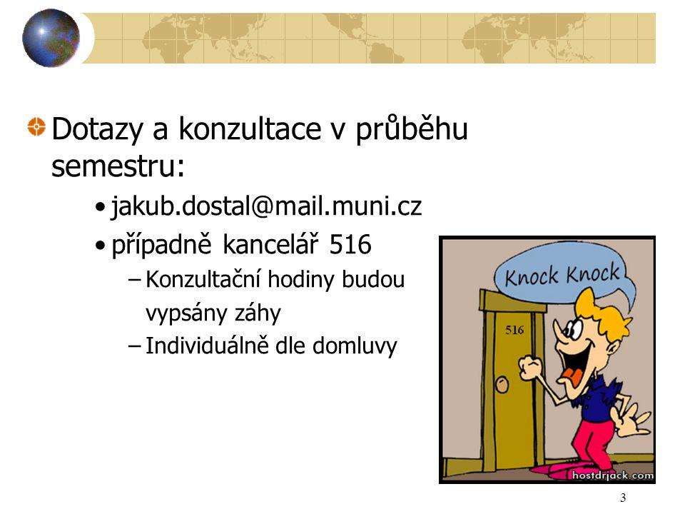 3 Dotazy a konzultace v průběhu semestru: jakub.dostal@mail.muni.cz případně kancelář 516 –Konzultační hodiny budou vypsány záhy –Individuálně dle dom