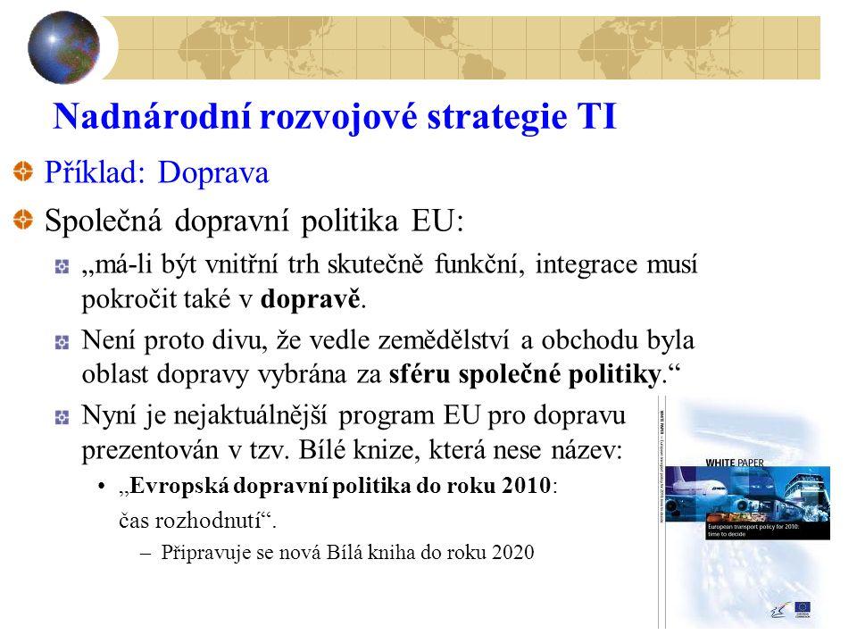 """35 Nadnárodní rozvojové strategie TI Příklad: Doprava Společná dopravní politika EU: """"má-li být vnitřní trh skutečně funkční, integrace musí pokročit"""