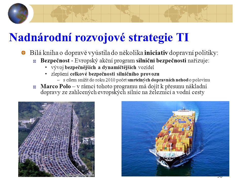 36 Nadnárodní rozvojové strategie TI Bílá kniha o dopravě vyústila do několika iniciativ dopravní politiky: Bezpečnost - Evropský akční program silnič