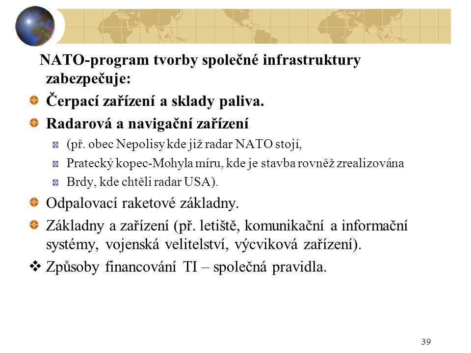 39 NATO-program tvorby společné infrastruktury zabezpečuje: Čerpací zařízení a sklady paliva. Radarová a navigační zařízení (př. obec Nepolisy kde již