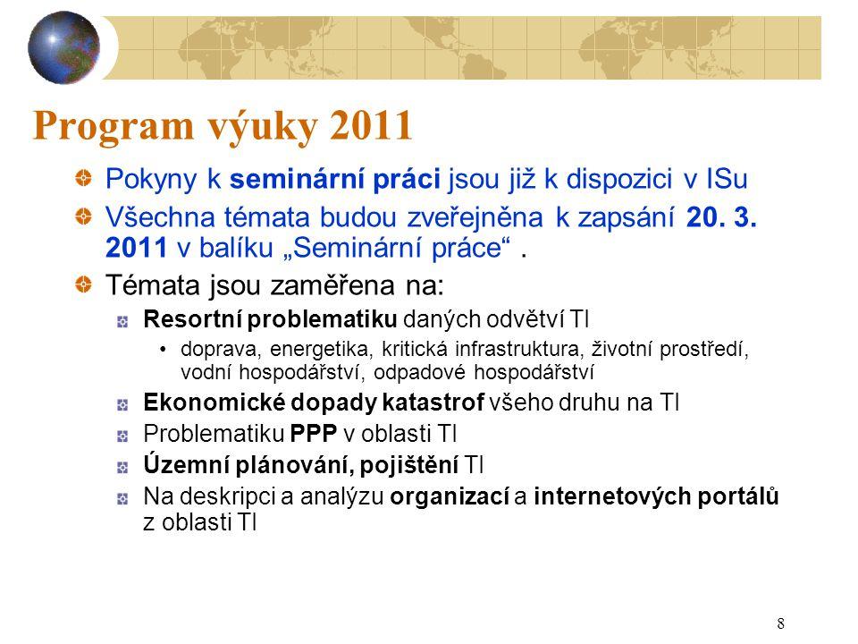 8 Program výuky 2011 Pokyny k seminární práci jsou již k dispozici v ISu Všechna témata budou zveřejněna k zapsání 20.
