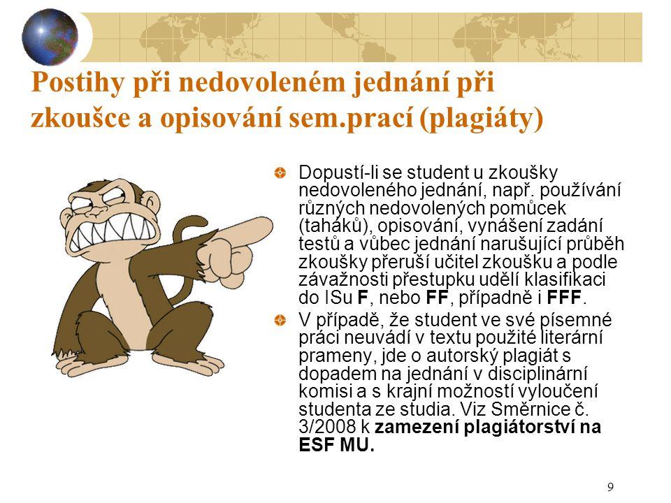 9 Postihy při nedovoleném jednání při zkoušce a opisování sem.prací (plagiáty) Dopustí-li se student u zkoušky nedovoleného jednání, např. používání r