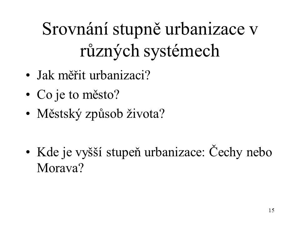 15 Srovnání stupně urbanizace v různých systémech Jak měřit urbanizaci? Co je to město? Městský způsob života? Kde je vyšší stupeň urbanizace: Čechy n