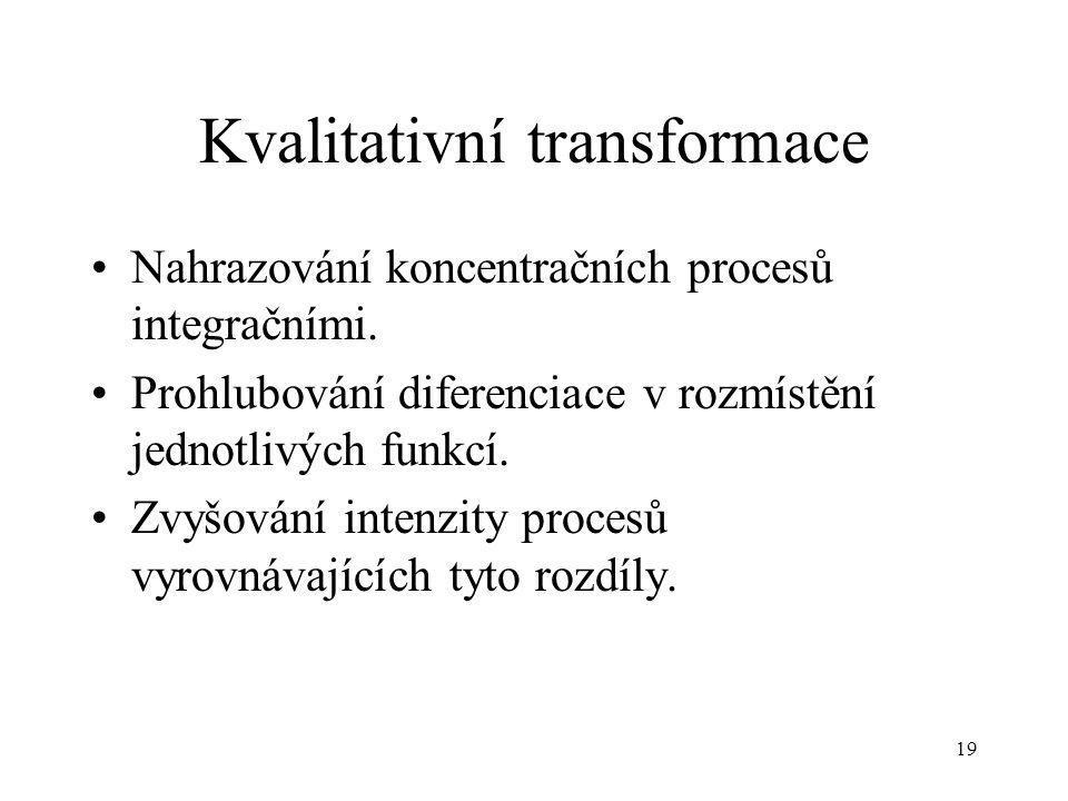 19 Kvalitativní transformace Nahrazování koncentračních procesů integračními. Prohlubování diferenciace v rozmístění jednotlivých funkcí. Zvyšování in