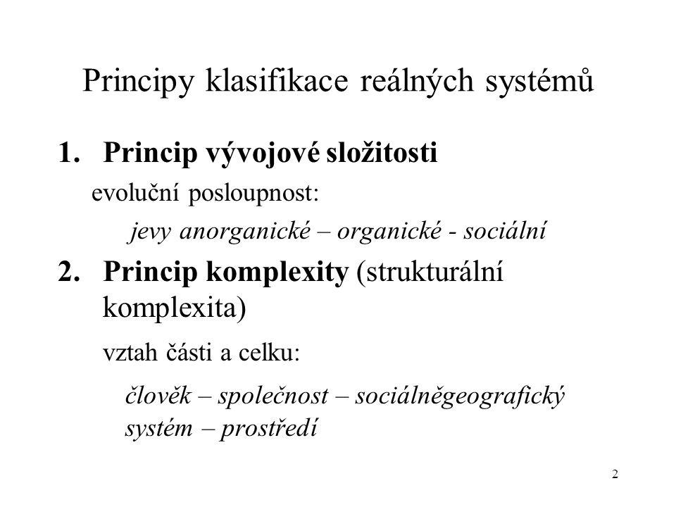 2 Principy klasifikace reálných systémů 1.Princip vývojové složitosti evoluční posloupnost: jevy anorganické – organické - sociální 2.Princip komplexi