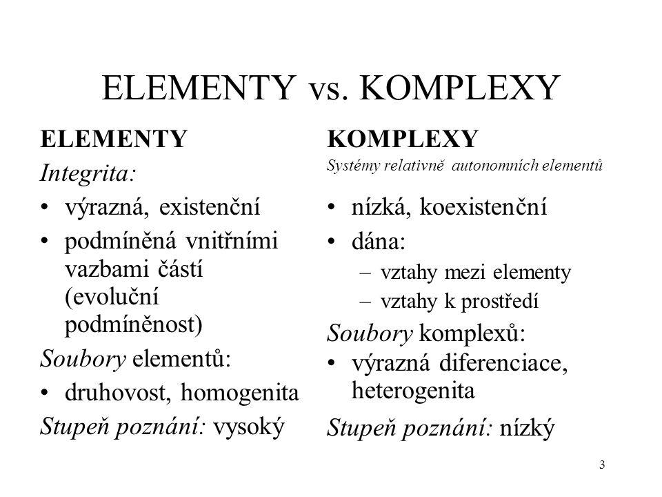 3 ELEMENTY vs. KOMPLEXY ELEMENTY Integrita: výrazná, existenční podmíněná vnitřními vazbami částí (evoluční podmíněnost) Soubory elementů: druhovost,