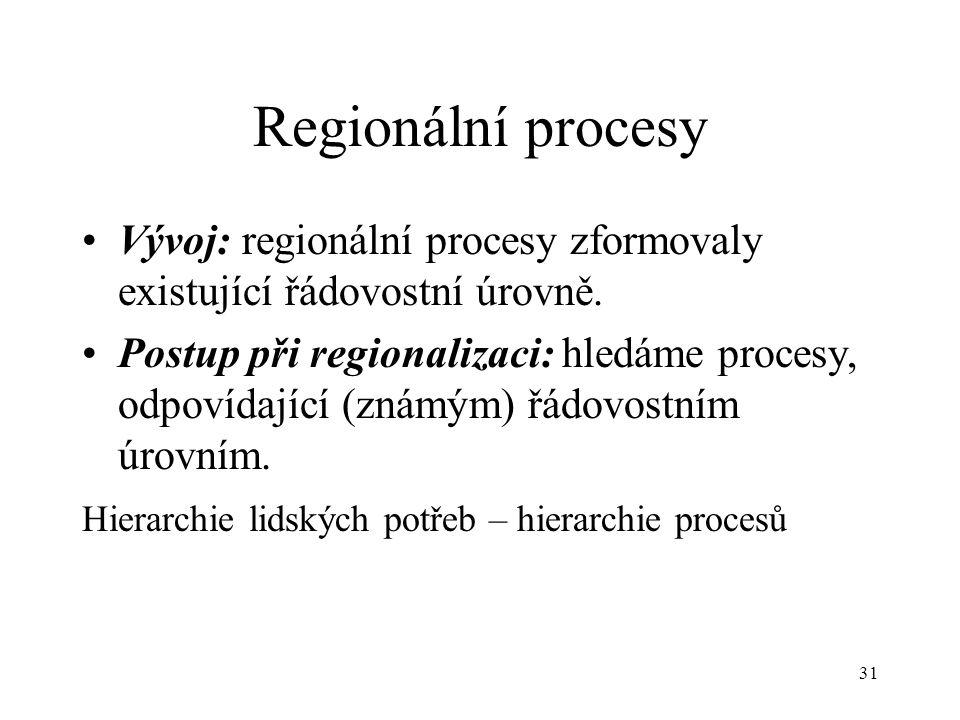 31 Regionální procesy Vývoj: regionální procesy zformovaly existující řádovostní úrovně. Postup při regionalizaci: hledáme procesy, odpovídající (znám