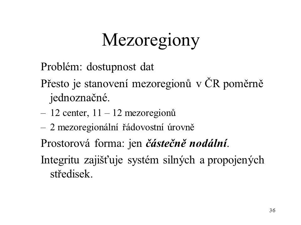36 Mezoregiony Problém: dostupnost dat Přesto je stanovení mezoregionů v ČR poměrně jednoznačné. –12 center, 11 – 12 mezoregionů –2 mezoregionální řád