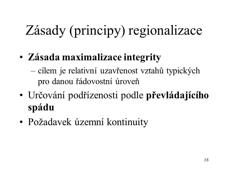 38 Zásady (principy) regionalizace Zásada maximalizace integrity –cílem je relativní uzavřenost vztahů typických pro danou řádovostní úroveň Určování