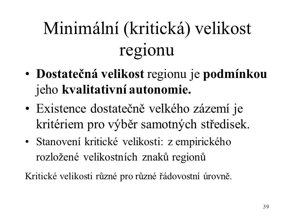 39 Minimální (kritická) velikost regionu Dostatečná velikost regionu je podmínkou jeho kvalitativní autonomie. Existence dostatečně velkého zázemí je