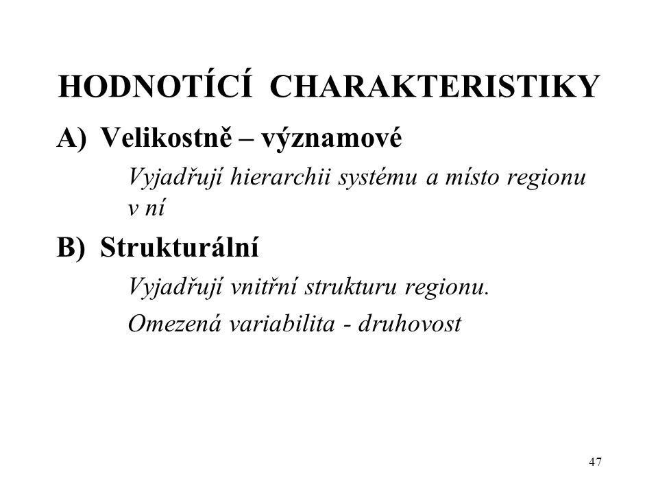 47 HODNOTÍCÍ CHARAKTERISTIKY A)Velikostně – významové Vyjadřují hierarchii systému a místo regionu v ní B)Strukturální Vyjadřují vnitřní strukturu reg