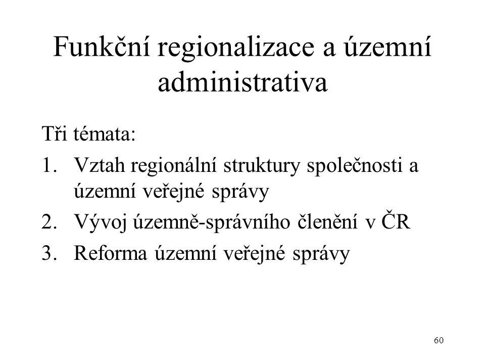 60 Funkční regionalizace a územní administrativa Tři témata: 1.Vztah regionální struktury společnosti a územní veřejné správy 2.Vývoj územně-správního