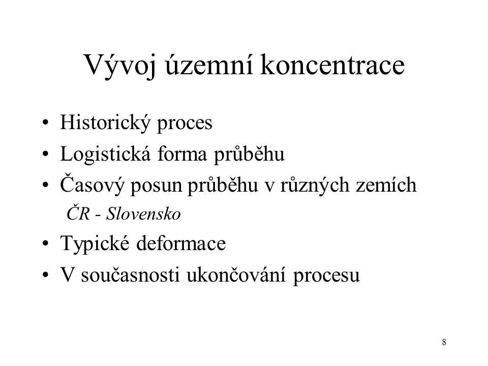 8 Vývoj územní koncentrace Historický proces Logistická forma průběhu Časový posun průběhu v různých zemích ČR - Slovensko Typické deformace V současn