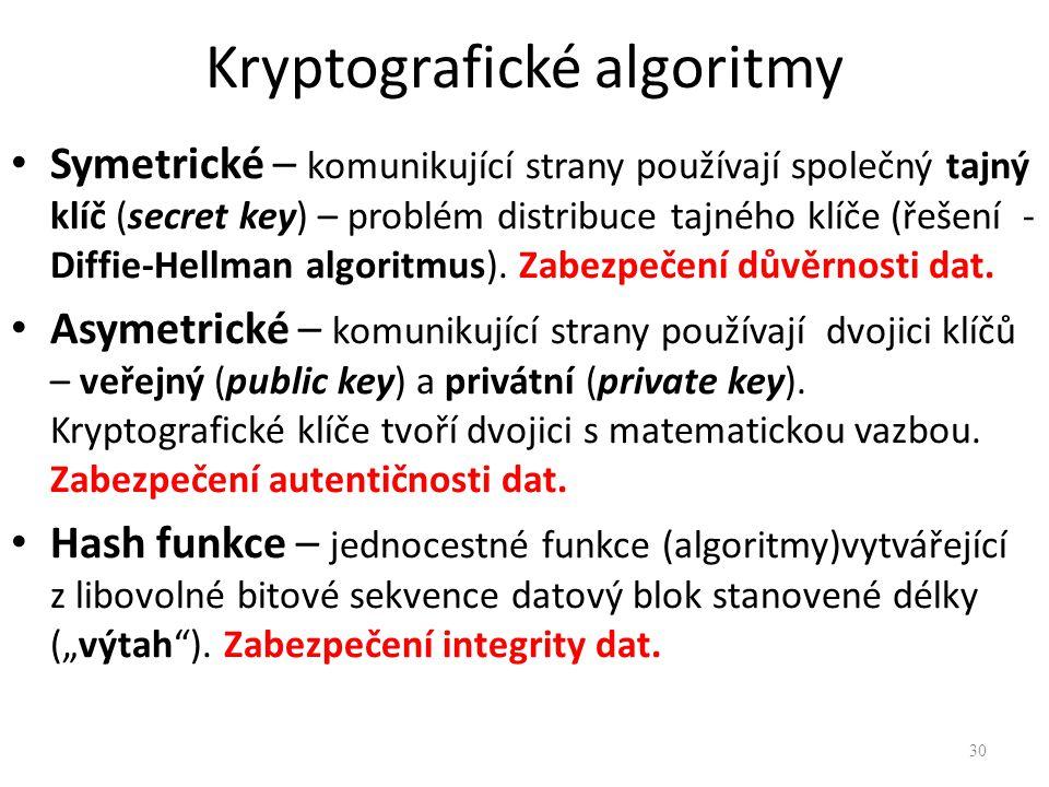 Kryptografické algoritmy Symetrické – komunikující strany používají společný tajný klíč (secret key) – problém distribuce tajného klíče (řešení - Diff