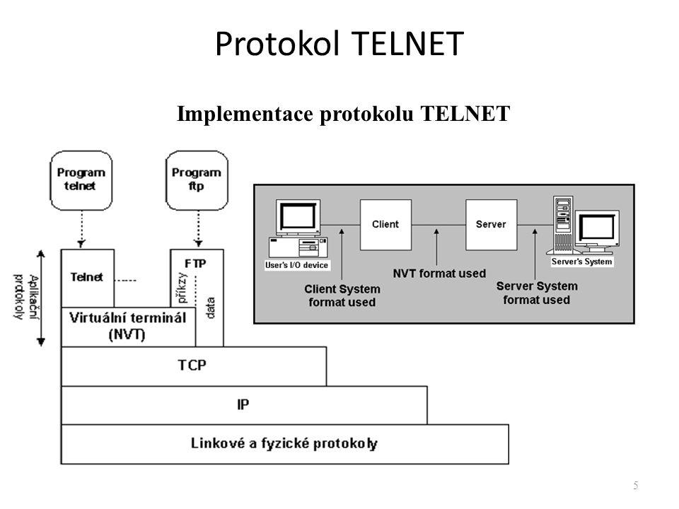 6 Princip virtuálních terminálů – NVT Protokol TELNET