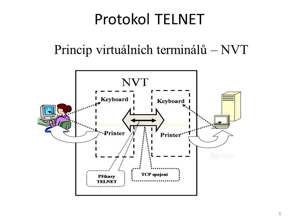 """Přenášená data """"Tisknutelné znaky ASCII (textové řetězce) – (kódy 32 – 127) Řídící znaky ASCII – (kódy 0 – 31) Příkazy protokolu TELNET - (kódy 230 – 255) Každý příkaz (kód) má symbolické jméno Příkazy jsou předávány ve dvojici: IAC (Interpret as Command) – kód 255 (0xFF) + vlastní příkaz – Příklad (sekvence pro kontrolu kompatibility): Klient zasílá: … """"Are you there? Server odpovídá: `Y` `E` `S` Příkazy a - začátek a konec výměny hodnot vyjednávaných podmínek 7"""