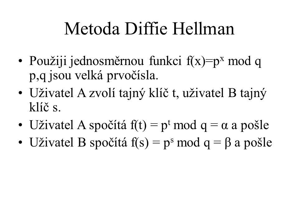 Metoda Diffie Hellman Použiji jednosměrnou funkci f(x)=p x mod q p,q jsou velká prvočísla. Uživatel A zvolí tajný klíč t, uživatel B tajný klíč s. Uži
