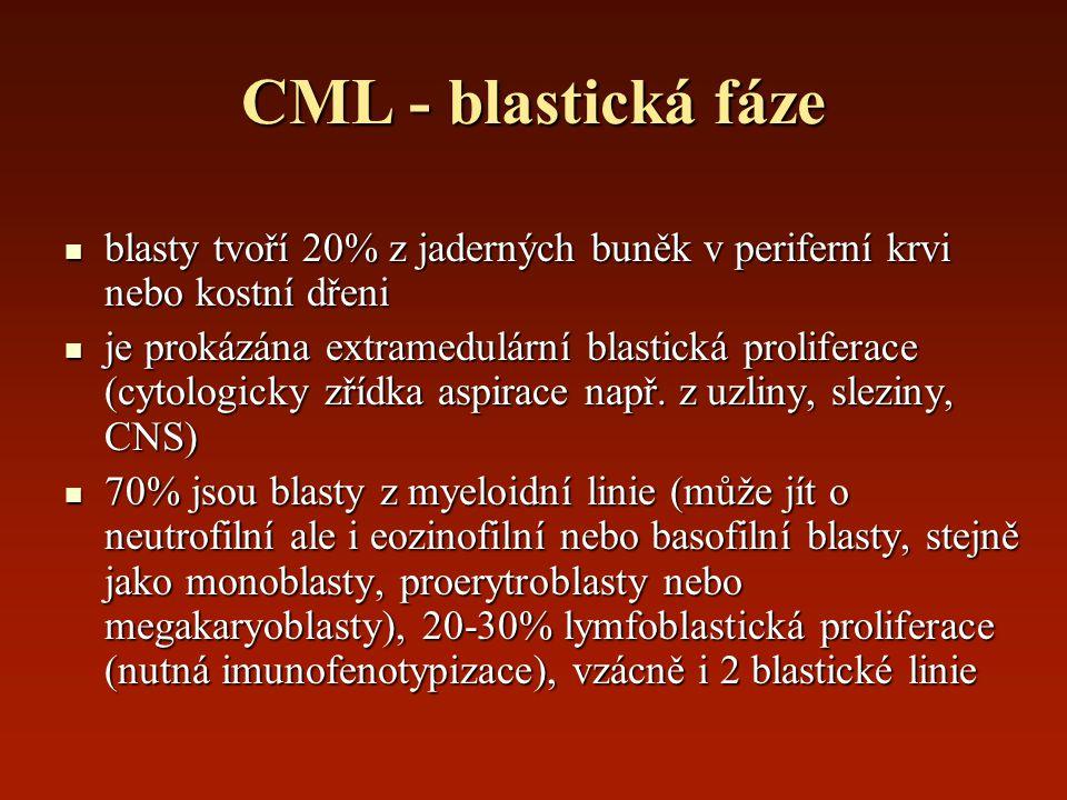 CML - blastická fáze blasty tvoří 20% z jaderných buněk v periferní krvi nebo kostní dřeni blasty tvoří 20% z jaderných buněk v periferní krvi nebo ko