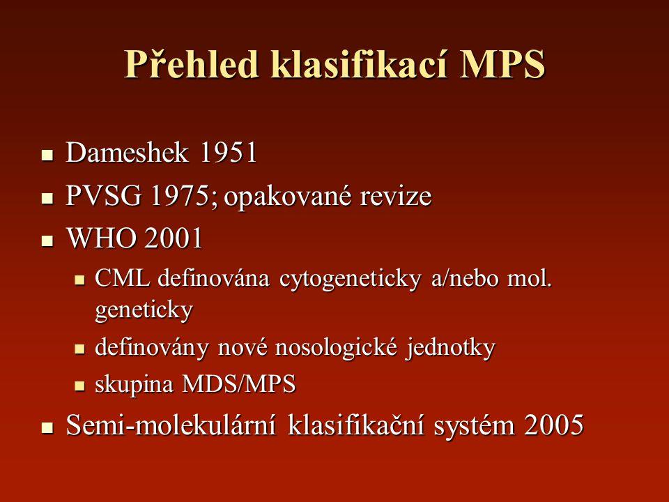Přehled klasifikací MPS Dameshek 1951 Dameshek 1951 PVSG 1975; opakované revize PVSG 1975; opakované revize WHO 2001 WHO 2001 CML definována cytogenet