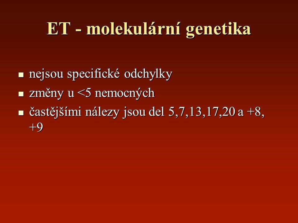 ET - molekulární genetika nejsou specifické odchylky nejsou specifické odchylky změny u <5 nemocných změny u <5 nemocných častějšími nálezy jsou del 5