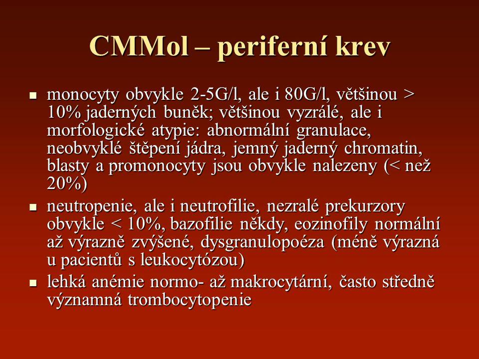 CMMol – periferní krev monocyty obvykle 2-5G/l, ale i 80G/l, většinou > 10% jaderných buněk; většinou vyzrálé, ale i morfologické atypie: abnormální g