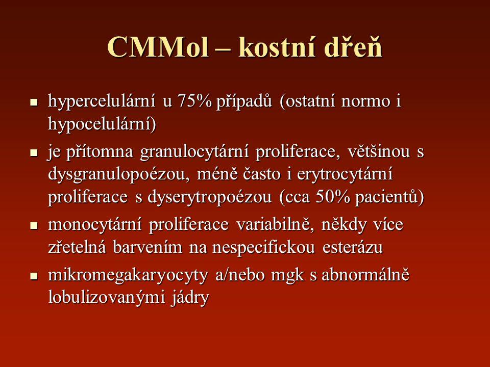 CMMol – kostní dřeň hypercelulární u 75% případů (ostatní normo i hypocelulární) hypercelulární u 75% případů (ostatní normo i hypocelulární) je příto