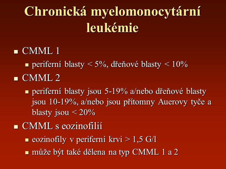 Chronická myelomonocytární leukémie CMML 1 CMML 1 periferní blasty < 5%, dřeňové blasty < 10% periferní blasty < 5%, dřeňové blasty < 10% CMML 2 CMML