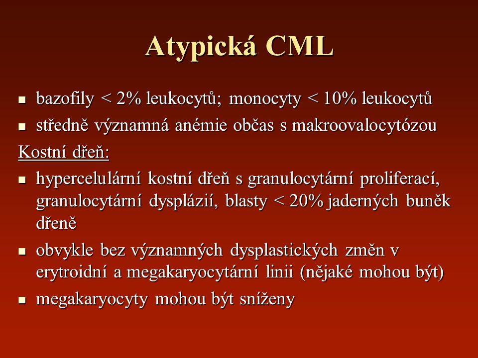 Atypická CML bazofily < 2% leukocytů; monocyty < 10% leukocytů bazofily < 2% leukocytů; monocyty < 10% leukocytů středně významná anémie občas s makro