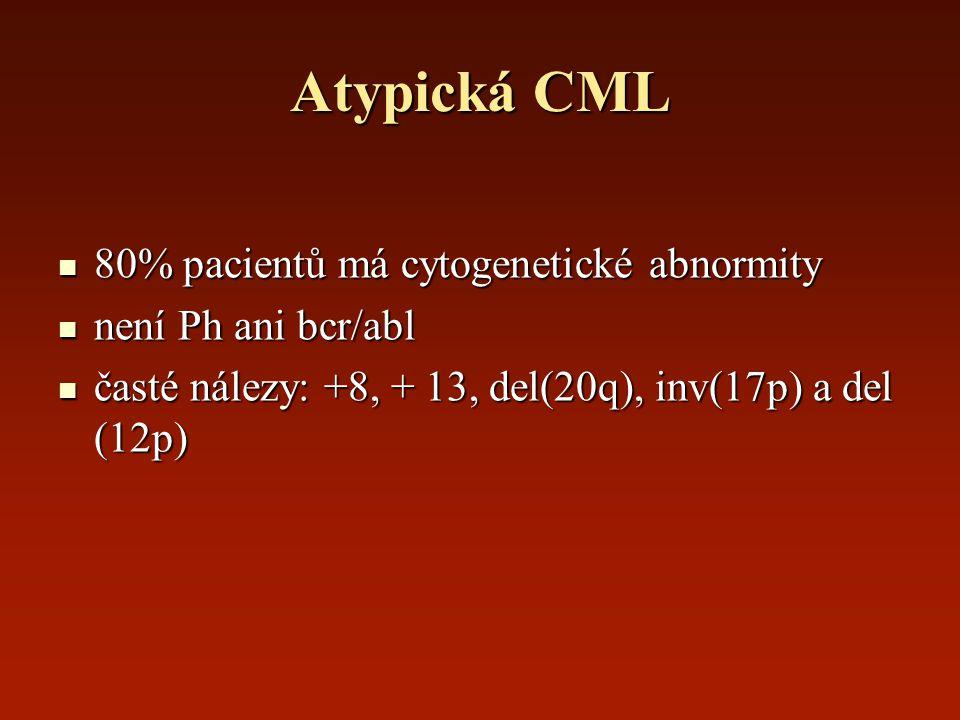 Atypická CML 80% pacientů má cytogenetické abnormity 80% pacientů má cytogenetické abnormity není Ph ani bcr/abl není Ph ani bcr/abl časté nálezy: +8,