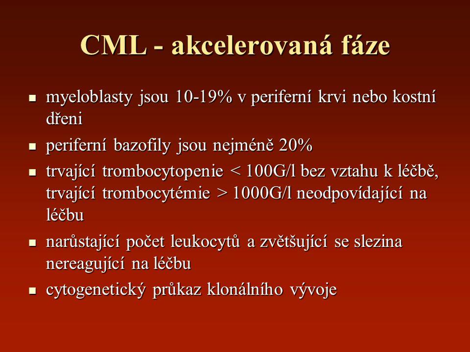 CML - akcelerovaná fáze myeloblasty jsou 10-19% v periferní krvi nebo kostní dřeni myeloblasty jsou 10-19% v periferní krvi nebo kostní dřeni perifern